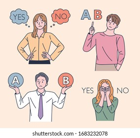 Choose between A and B. People are thinking about the decision. flat design style minimal vector illustration.