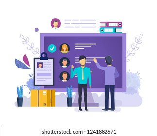 Choose candidate for vacancy job. Selection of candidates, hr management, interviews, research of resume human resources, head hunting. Recruitment personnel search. Vector illustration.