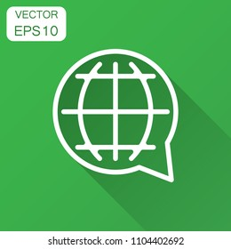 Choose or change language icon. Vector illustration with long shadow.. Business concept globe world communication pictogram.