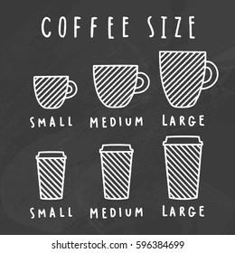 Choose coffee size. Chalkboard style. Vector hand drawn illustration