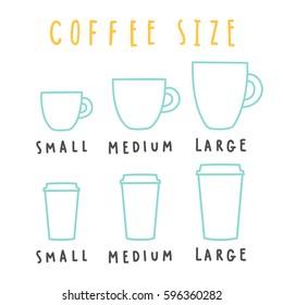 Choose coffee size. Vector hand drawn illustration