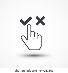 Choose concept. Business disagree. Cursor choose icon hand, yes and no, agree or disagree. No touch. Eps10, JPEG, Picture, Image, Logo, Sign, Design, Flat, App, UI, Web, Art, Vector, Outlined