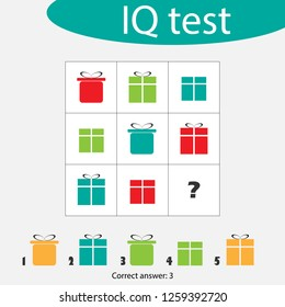 Choose correct answer, IQ test with christmas gift boxes for children, xmas fun education game for kids, preschool worksheet activity, task for the development of logical thinking, vector illustration