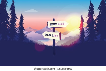 Choose a life direction, new life or old life. Crossroad signpost pointing at new opportunities, sunrise, beautiful nature. Decision making concept. Vector illustration.