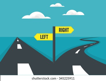 Choose path of direct way and curve way. decision concept.