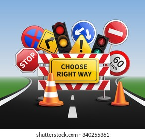 Choose right way realistic concept with road signs and traffic lights vector illustration