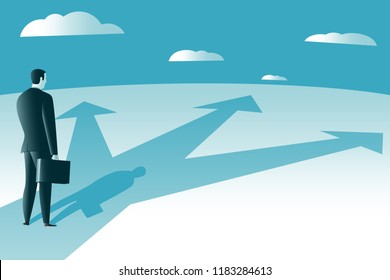 Choose a way of doing business. Problem solving, the way to success. Business success concept. Vector illustration.