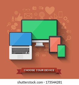 Choose your favorite device icon. Vector illustration