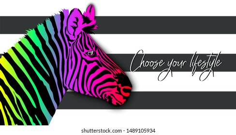 Choose your lifestyle.Abstract illustration of a Zebra on a striped background