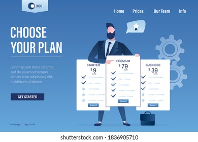 Choose your plan, landing page template. Price list set. Set of offer tariffs. Pricing table for business. Businessman recommend premium plan. Male agent with white cards. Flat vector illustration