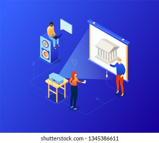 Choose your route - modern colorful isometric illustration. A composition with characters looking at photos on a projector, choosing where to go. Greek Parthenon on the screen. Traveling concept