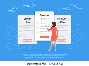 Choose your subscription or payment plan. Young woman standing near pricing panels and choosing the middle price. Flat vector illustration of people who have a choice of different types of payment