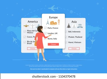 Choose your traveling tour and destination. Young woman standing near tour panels and choosing traveling between europe, america, asia. Flat vector illustration of people who have a choice of tourism