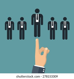 Choosing the best candidate concept -  hand pointing to a business stick figure
