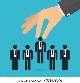 Choosing the best candidate concept for the job concept. Hand picking up a businessman stick figure from the row. Flat design