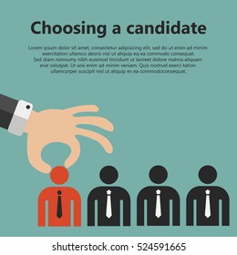 Choosing the best candidate for the job concept. Hand picking up a businessman from the row. Flat vector design