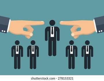 Choosing the best candidate - two hands pointing to a businessman stick figure