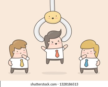 Choosing the best employee. Cute Doodle Illustration.