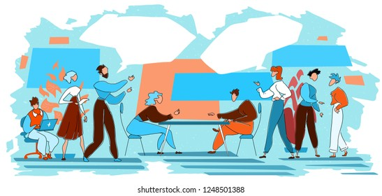 Choosing between two options or ideas. Group of business people talking, debating over business direction, making choice. Vector illustration with speech bubbles.