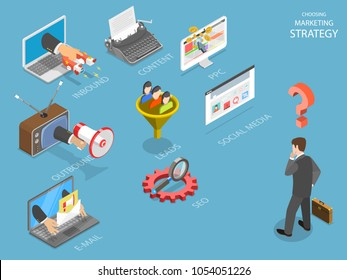 Choosing marking strategy flat isometric vector. Business man is thinking what strategy is the best for his business: inbound, outbound, PPC, lead generation, e-mail, SEO or social media.