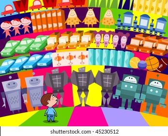 Choosing a new toy in the supermarket - vector