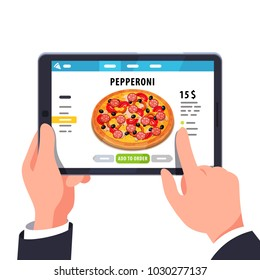 Choosing pizza on tablet computer mobile app. Tapping on the screen making pizza delivery order in convenient application. Fast food online ordering. Flat style isolated vector illustration.