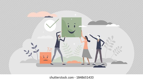 Choosing positive smiling colleague over sad and negative tiny person concept. Chose happy attitude for office people vector illustration. Symbolic smileys with good and bad facial mood expression.
