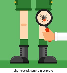 Choosing right clothes when going to the forest concept. Hand with magnifying glass showing dangerous tick mite insect bug sitting on a open area on a leg. Flat vector illustration.