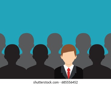 Choosing the right person. Flat vector isolated on background. Find the right person. Concept of job, human resource.