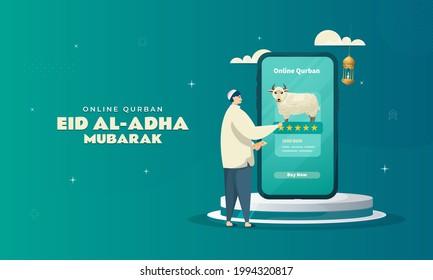 Choosing a sheep for online Qurban illustration to celebrate Eid al-Adha concept