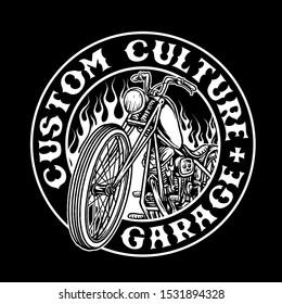 chopper bike custom motorcycle vector badge