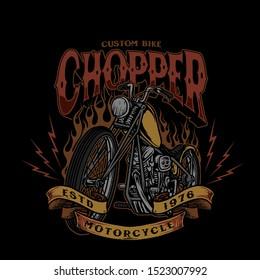 chopper custom bike style vintage vector illustration