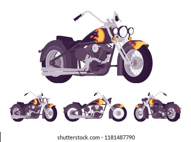 Chopper custom motorcycle bright black set. Motor vehicle, big, heavy machine in classic design with flame and fire print. Vector flat style cartoon illustration isolated on white background