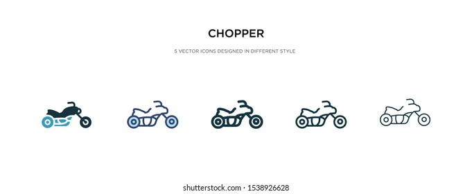 chopper icon in different style vector illustration. two colored and black chopper vector icons designed in filled, outline, line and stroke style can be used for web, mobile, ui