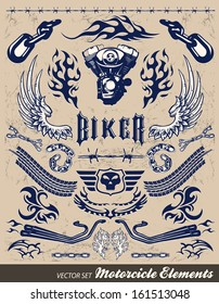 Chopper Motorcycle elements - vintage style
