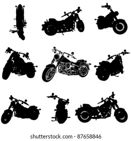 chopper motorcycle silhouette set from different perspectives (3d programs are modeled with)
