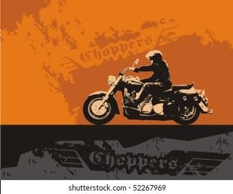 Chopper with rider. Vector grunge background illustration.