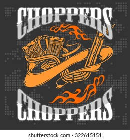 Choppers - vintage bikers badge. Retro chopper bike elements. Vector illustration.