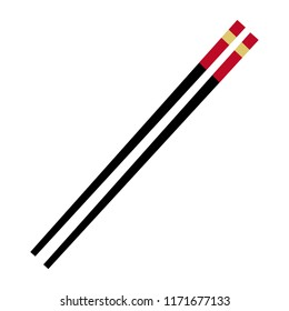 Chopstick flat icon isolated on a white background. A pair of japanese chopstick. Vector stock.