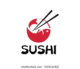 Chopstick Swoosh Bowl Oriental Japan Cuisine, Japanese Sushi Seafood logo design inspiration