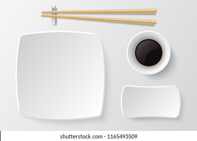 Chopsticks and empty sushi plate. Asian restaurant dishes vector mockup. Japanese plate restaurant for dinner meal illustration