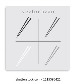 Chopsticks flat black and white vector icon.
