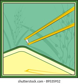Chopsticks hold rice grain. The plant of rice is drawn on a background