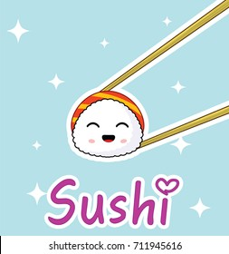 Chopsticks holding cute cartoon sushi roll. concept of exotic nutrition. Sushi restaurant or sea food menu design