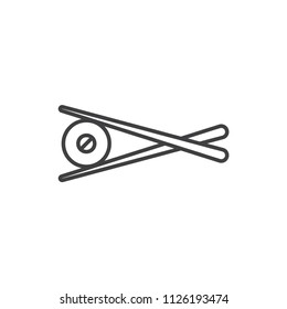 Chopsticks holding sushi roll line icon.