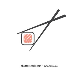 Chopsticks holding sushi roll. Sushi pieces with chopsticks vector web icon isolated on white background, EPS 10, top view