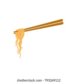 Chopsticks and noodle, Chinese, Japanese, Asian cuisine, cartoon vector illustration isolated on white background. Noodle held by two chopsticks, Asian fast food