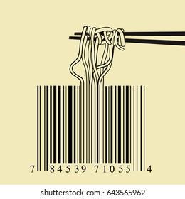 Chopsticks spaghetti barcode design idea concept