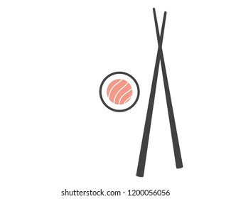 Chopsticks with sushi roll. Sushi piece with chopsticks vector web icon isolated on white background, EPS 10, top view