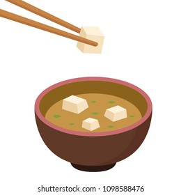 chopsticks and tofu vector. soup miso cartoon vector. free space for text. wallpaper. background. tofu vector.